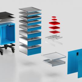Schubladenschränke aus Metall für die Werkstatteinrichtung
